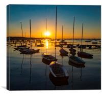 Serene sunset over boats at Sandbanks, Poole, Dorset near Bourne, Canvas Print