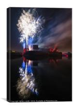Fireworks at Caerphilly Castle, Canvas Print