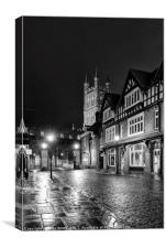 Gloucester Cathedral, Black and White, Canvas Print