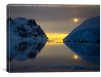 Midnight at Lemaire, Antarctica, Canvas Print