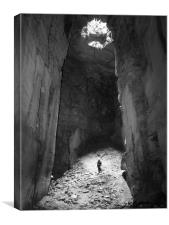 Explorer in the stone Cathedral , Canvas Print