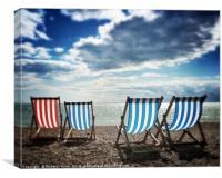 Four deckchairs on the beach at Brighton, East Sus, Canvas Print