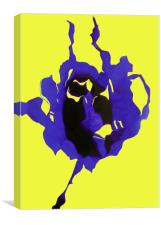 Blue rose on a yellow background, Canvas Print