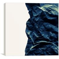 Black crumpled paper on gray background, Canvas Print