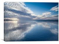 Reflections on the beach at Whiteford Sands., Canvas Print