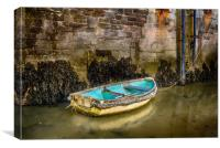 The Blue Boat in Tenby Harbour., Canvas Print