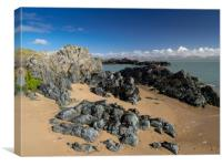 Pillow Lava Rocks on Newborough Sands, Anglesey., Canvas Print