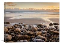 Golden Sunset at Morfa Bychan Beach, Pendine., Canvas Print
