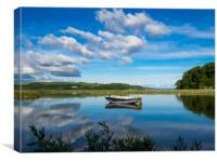 The Blue Boat and Reflections - Laugharne Estuary., Canvas Print