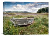 The Grey Boat at Laugharne., Canvas Print