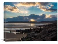Amroth Beach Sunset in Winter., Canvas Print