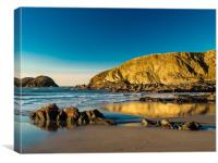 Reflections on Traeth Llyfn Beach, Pembrokeshire, Canvas Print