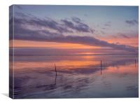 Sunset and the Sticks on Pendine Beach., Canvas Print