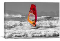 Windsurfing on Newgale Beach - Selective Colour., Canvas Print