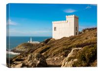 Elin's Tower and South Stack Lighthouse, Anglesey., Canvas Print