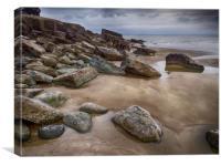 Dark Day at Telpin Beach, Amroth, Pembrokeshire., Canvas Print