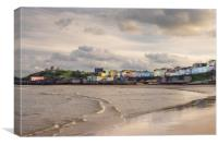 Tenby Harbour and North Beach in Winter., Canvas Print