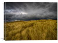 Storm Clouds over the Sand Dunes at Aberffraw, Canvas Print
