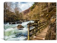 A Walk by the River Glaslyn at Beddgelert., Canvas Print