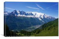 Mont Blanc and the Chamonix Valley, Canvas Print