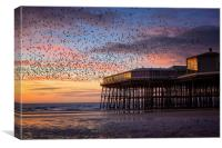 Starling Murmation at North Pier, Blackpool, Canvas Print