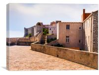 Dubrovnik Buildings on the city walls, Canvas Print