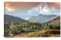 Autumn Trees at Elterwater towards Lansdale Pikes, Canvas Print