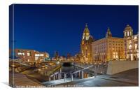 A Quiet Twilight at Liverpools Pier Head, Canvas Print