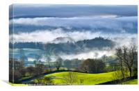 Lake Windermere Lost in Valley Mist, Canvas Print