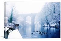Knaresborough Viaduct in winter snow, North Yorks, Canvas Print