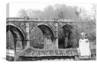Knaresborough Viaduct in winter snow, Canvas Print