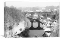 Knaresborough Viaduct in snow, Canvas Print