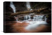Pwll-y-wrach waterfall near Talgarth., Canvas Print