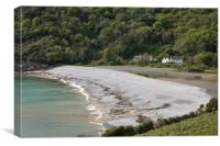 Cottages at Pwll u bay., Canvas Print