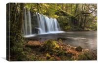 Sgwd Ddwli Uchaf waterfall., Canvas Print