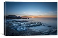 Mumbles lighthouse viewed from Bracelet bay., Canvas Print