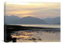 Sunset over the mountains of Ardgour             , Canvas Print