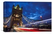 Tower Bridge Light Trails and the Shard, Canvas Print