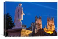 William Etty Statue and York Minster at Dusk, Canvas Print