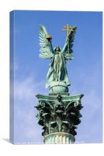 Archangel Gabriel Statue on the Heroes Square Colu, Canvas Print
