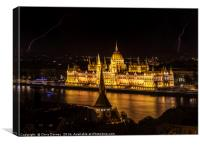 Hungarian Parliament Building and Lightning, Canvas Print