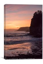 Caswell Bay Sunset Full Tide, Canvas Print