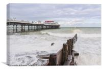 Cromer Pier Frothy Sea, Canvas Print