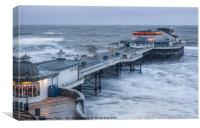 Cromer Pier winter storm surge, Canvas Print