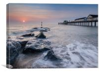 Sun rising Southwold Pier Suffolk , Canvas Print