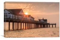 Sun rising over the Pier at Southwold, Suffolk, Canvas Print