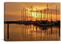 Sunset over Rudkøbing Skudehavn, Canvas Print