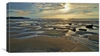 Sunset and low-tide at Porth Mawr                 , Canvas Print