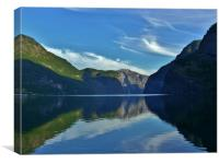 Aurlandsfjorden and Reflections, Canvas Print