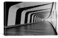 King's Cross pedestrian tunnel - Black and White, Canvas Print
